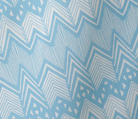 Blue Hand drawn Chevron