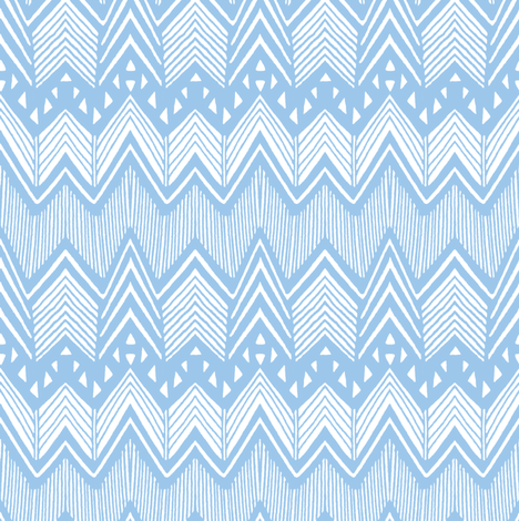 Blue Hand drawn Chevron fabric by kimsa on Spoonflower - custom fabric