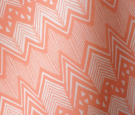 Coral Hand drawn Chevron