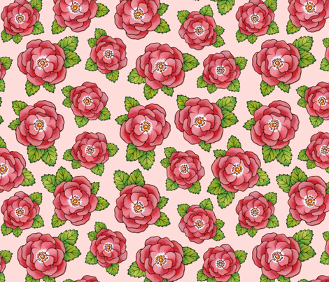 Alpen Rose large scale flowers fabric by patricia_shea on Spoonflower - custom fabric