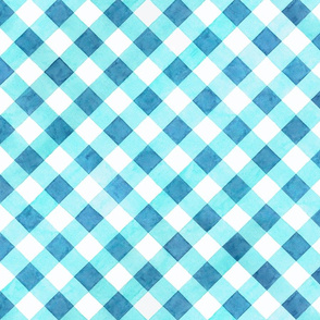Alpen Rose Watercolour Blue Gingham