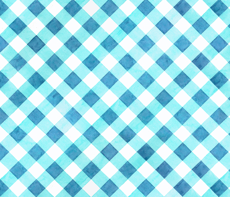 Alpen Rose Blue Gingham fabric by patricia_shea on Spoonflower - custom fabric