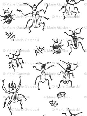 Beetle-Bug Brigade   Black on White