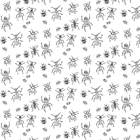 Beetle-Bug Brigade | Black on White fabric by imaginaryanimal on Spoonflower - custom fabric