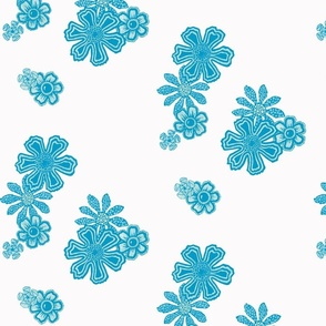 Blue Doodle Flowers
