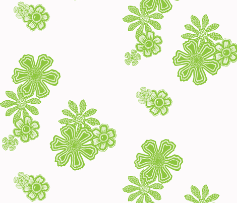 Green Doodle Flowers fabric by dylanbug on Spoonflower - custom fabric