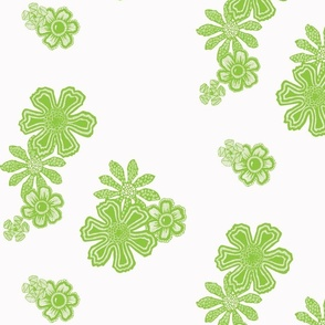 Green Doodle Flowers