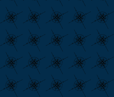 Compass blue fabric by flyingfish on Spoonflower - custom fabric