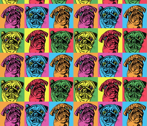 Retro Pug fabric by heartfabric on Spoonflower - custom fabric