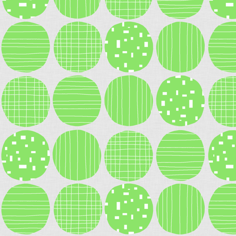 Lime circles (grey background) fabric by greennote on Spoonflower - custom fabric