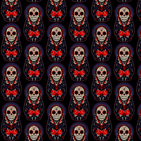 Sugar Skull Matryoshka-ed fabric by amyawesome on Spoonflower - custom fabric