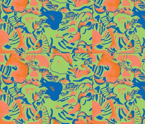 Elephant Abstract -green orange blue fabric by bettinablue_designs on Spoonflower - custom fabric