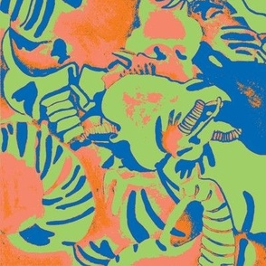 Elephant Abstract -green orange blue