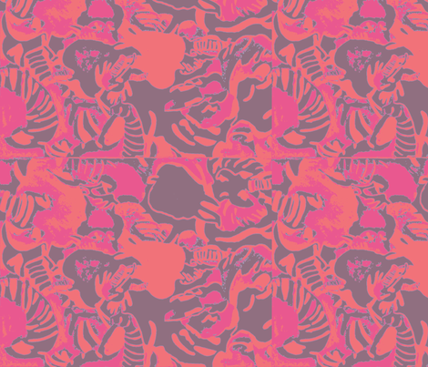 Elephant Abstract -pink gray orange fabric by bettinablue_designs on Spoonflower - custom fabric
