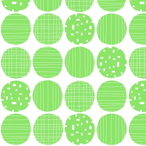 Green circles (white background) fabric by greennote on Spoonflower - custom fabric