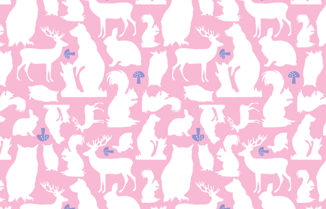 Woodland Animals Large with lavender  fabric by emma_smith on Spoonflower - custom fabric