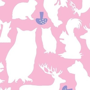 Woodland Animals Large lavender 2