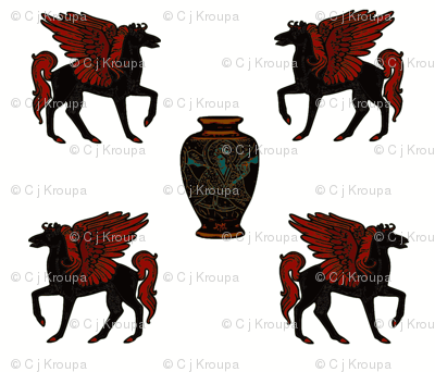 Greek Myth Pegasus and Urn