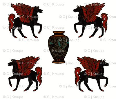 Greek Myth Pegasus and Urn
