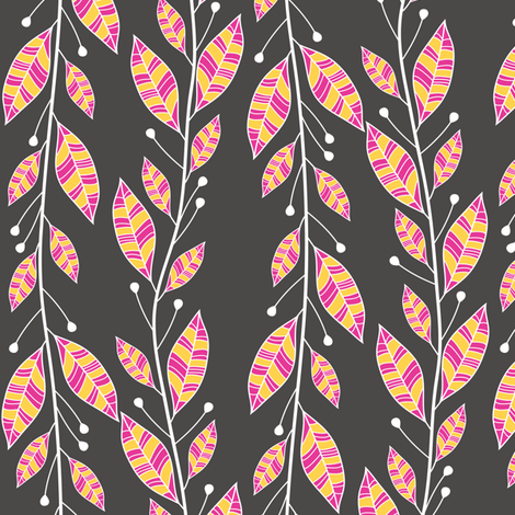 Bouquet Leaves (Charcoal) fabric by robyriker on Spoonflower - custom fabric