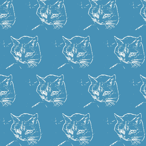Cat on Blue fabric by mbsmith on Spoonflower - custom fabric
