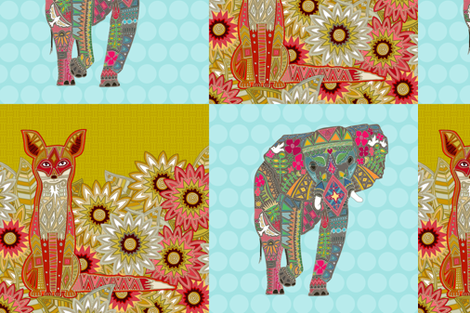"fox and elephant 12"" squares fabric by scrummy on Spoonflower - custom fabric"