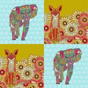 "fox and elephant 12"" squares"