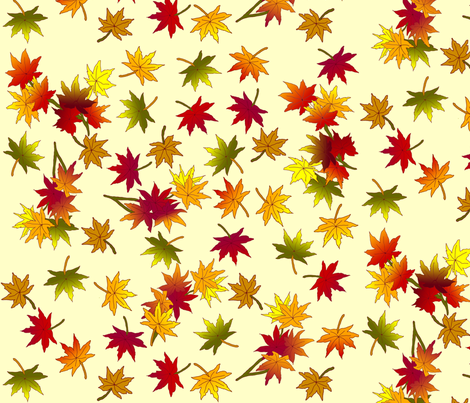 Autumn Leaves in Straw © seasparkles 2013 fabric by seasparkles on Spoonflower - custom fabric