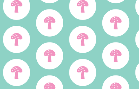 Woodland Magic Mushroom Mint dark fabric by emma_smith on Spoonflower - custom fabric