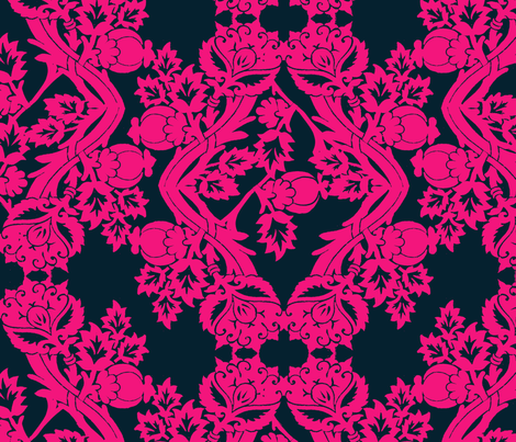 floral damask blue fabric by katarina on Spoonflower - custom fabric
