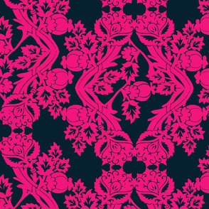 floral damask blue