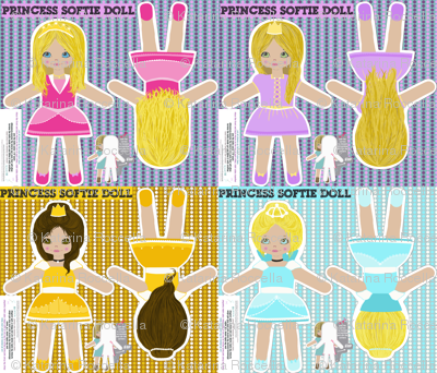 princesses - cut and sew template pattern