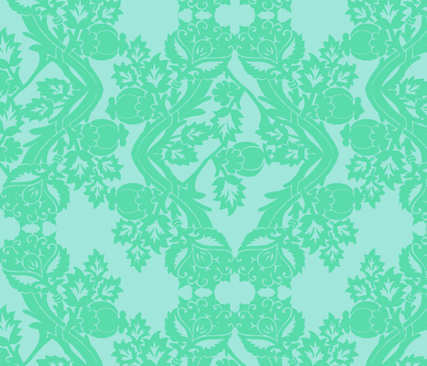 floral damask minty fabric by katarina on Spoonflower - custom fabric
