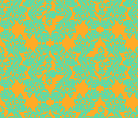 floral damask mint fabric by katarina on Spoonflower - custom fabric