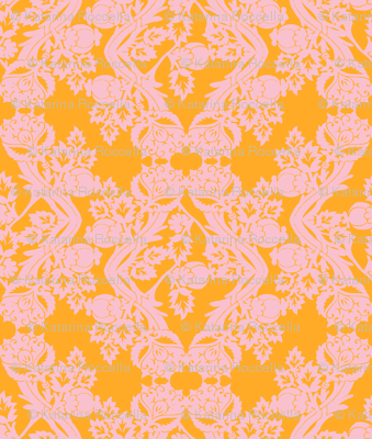 floral damask peach