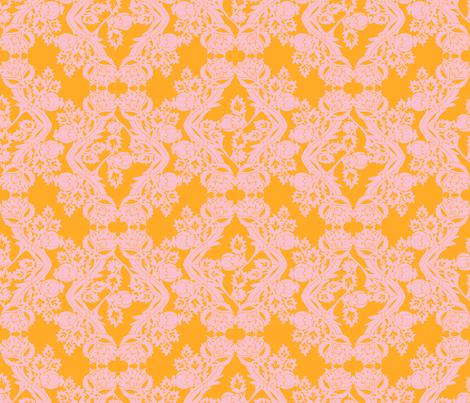 floral damask peach fabric by katarina on Spoonflower - custom fabric