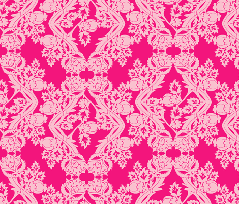 floral damask pink fabric by katarina on Spoonflower - custom fabric