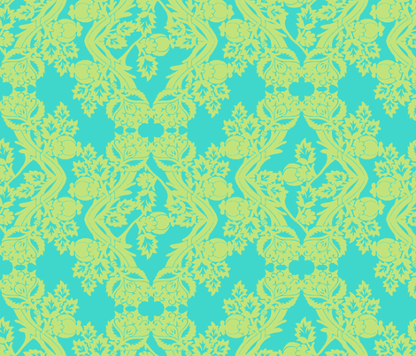 floral damask lime aqua fabric by katarina on Spoonflower - custom fabric