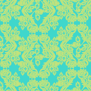 floral damask lime aqua