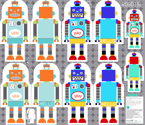 retro robots - 3 types: cut and sew template