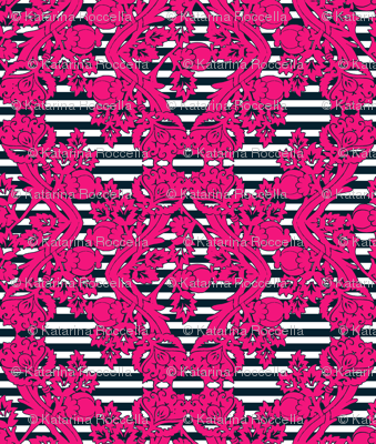 floral damask pink navy stripes
