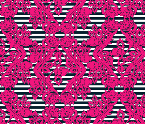 floral damask pink navy stripes fabric by katarina on Spoonflower - custom fabric