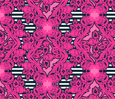 floral_damask stripe navy pink fabric by katarina on Spoonflower - custom fabric