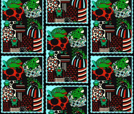 Frogs With Mushrooms fabric by whimzwhirled on Spoonflower - custom fabric