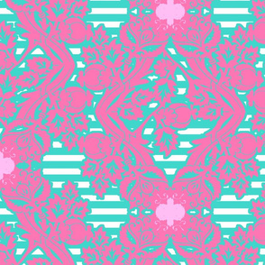 floral damask aqua pink