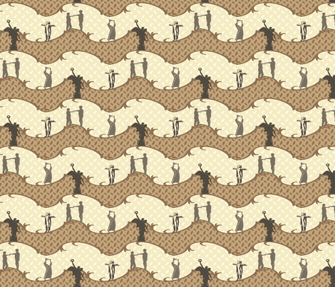 Legendary Figures - neutral fabric by cherryandcinnamon on Spoonflower - custom fabric