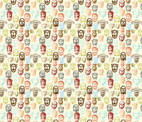Faces of Derry multi colour fabric by cherryandcinnamon on Spoonflower - custom fabric