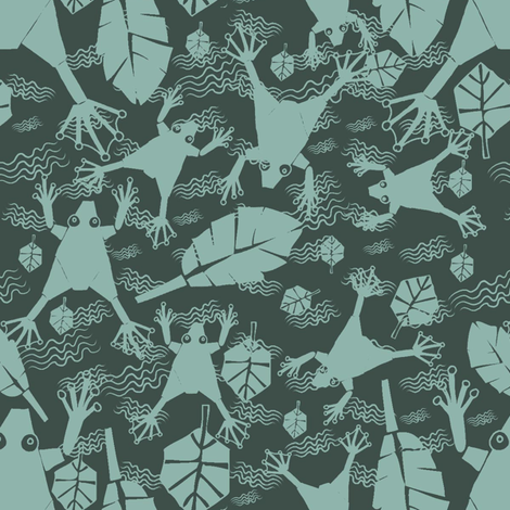 2_colours_frogs_and_leaves fabric by sydama on Spoonflower - custom fabric