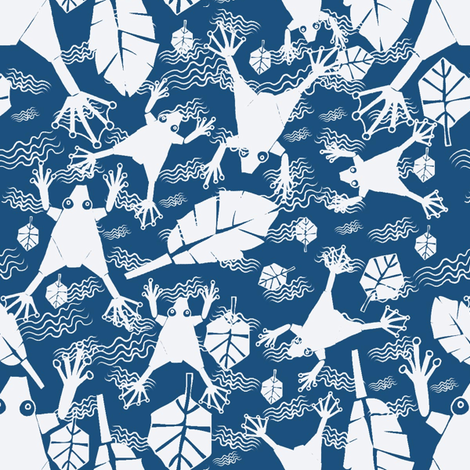 white frogs on blue fabric by sydama on Spoonflower - custom fabric