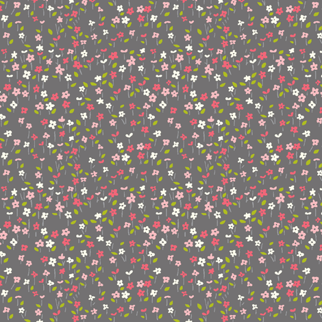 field_o_flowers_gray fabric by stacyiesthsu on Spoonflower - custom fabric